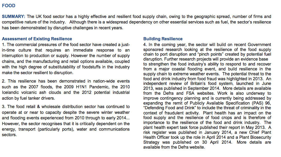 2014 Food Sector Resilience Plan