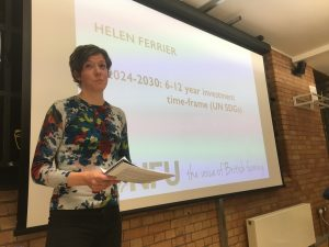 A woman at a presentation screen - Helen Ferrier Horizon Scanning